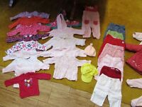 Girl 3-6 mths bundle of tops, jumpers, trousers, coat, sleepsuits, vests, dress. 42 items