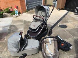 Mamas and papas Ocarro Travel system- Pram, Carry cot, Cybex car seat and isofix base