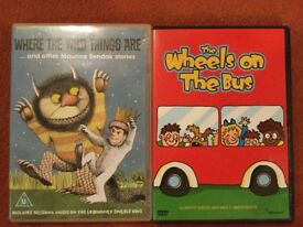 DVDs - Where the wild things are and the Wheels on the Bus
