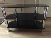 3 tier tv shelf corner tv unit glass table in good condition BLACK TV UNIT