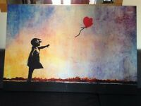 Banksy Baloon Girl Heart RED rainbow sunset Framed Ready To Hang Canvas