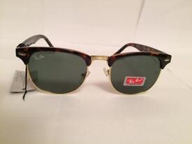 RayBan Clubmaster Sunglasses RB3016 (tortoiseshell brown frame/gold rim)