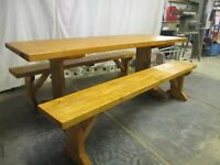 Farmhouse table and bench set. Handmade in Wales. Free delivery.
