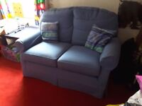 2 seater blue self-patterned sofa, excellent condition