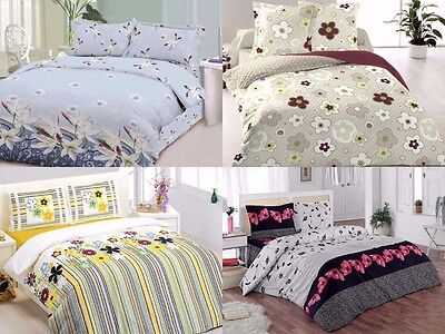 3 Piece Floral Comforters set Queen 100% cotton Bedding reversible set  ()