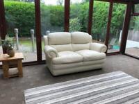 Violino®️ 2 Seater Cream Italian Leather Sofa