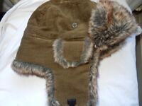 Jack Pyke Corduroy Trapper Hat Light Brown Hunting Cotton Acrylic fur All Sizes