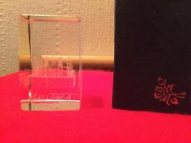 Glass etched Mallorca display crystal - Brand New