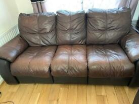 Three Seater Brown Leather sofa recliner