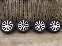 "Genuine VW 16"" Alloy wheels 5x112 Very good tyers Passat T4 Audi A3 A4 Touran Caddy"