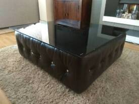 Large Dark Brown Ottoman Tempered Glass Coffee Table Extra Seating