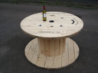 Large Wooden Reclaimed Industrial Cable Reel/Drum,Table, 120 cm x 68 cm Upcycled/Craft project.