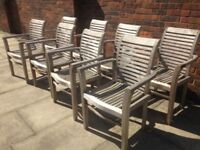 8 Teak Garden Chairs Very Well Made Solid Teak Wood Garden or Patio Chairs