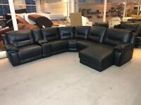 HARVEYS REID HEDGEMOOR BLACK LEATHER RECLINER CORNER SOFA RIGHT HAND SIDE CHAISE CUP HOLDER LARGE