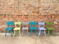 6x Wooden Antique Children's Chairs Rustic Seating Photography or Childcare Café