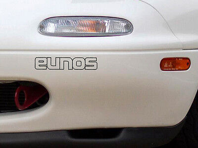 Black Eunos outline front bumper decal sticker in MX5 Mazda JDM Import