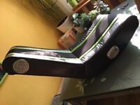 XRocker gaming chair with speakers.