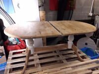 Dining room table extendable. Unfinished upcycle project