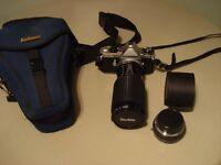 Pentax ME Super Camera with Long Lens, Converter & Soft Carry Case