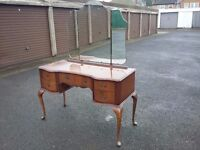 lovely vintage kidney shape dressing table with triple mirror and queen anne legs