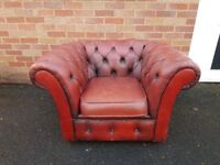 FABULOUS VINTAGE LEATHER CHESTERFIELD CLUB CHAIR ARMCHAIR STUDY HOME APARTMENT OFFICE DECOR USE GC