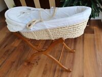 *Nearly New* Moses Basket with Stand - Beautiful Cream Colour