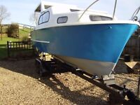 22' cabin cruiser / fishing boat with 4 wheel trialer