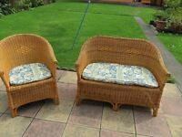 two piece cane conservatory suite