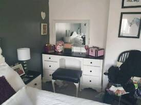 Solid wood dressing table & stool