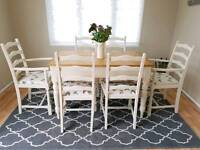 Solid pine vintage dining table and 6 chairs