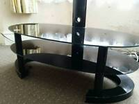 47 INCH BLACK GLASS TV STAND AND SIDE TABLE