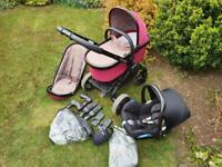 iCandy Peach 3 Pram Pushchair Travel System With Car Seat Claret
