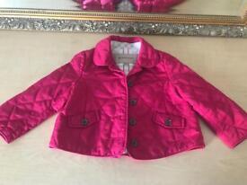 Baby girl pink Burberry jacket coat size 12-18 montyd