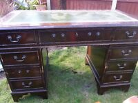 Chesterfield style Leather office study desk