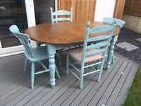 Shabby chic extendable dining table and 4 chairs