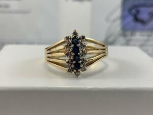 #3893 10K Yellow & White Gold Diamond & Sapphire Fancy Cluster Ring *SIZE 10 1/4* APPRAISED AT $1550.00!