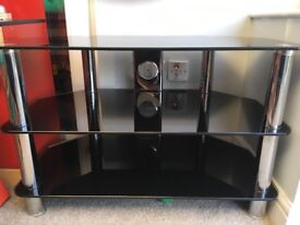 Black glass and chrome tv stand with 2 shelves