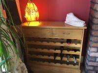 Solid Oak 2 drawer wine storage unit