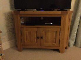 Wooden corner tv stand, solid oak.