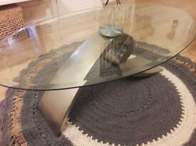 Two elegant glass coffee table and side table