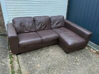 Brown leather corner sofa*can deliver