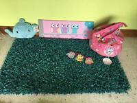 Teal Rug, owl bean bag, 3 photo frames , cushion and canvas