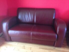 QUICK SALE - Beautiful Burgundy Leather Suite 2 & 3 Seater Sofas + 2 Chairs
