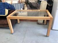 Solid oak and glass dining table