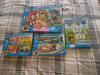 4 x paw patrol puzzles and game