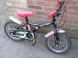 Pirate bicycle with stabilisers for 2/3-6 year old