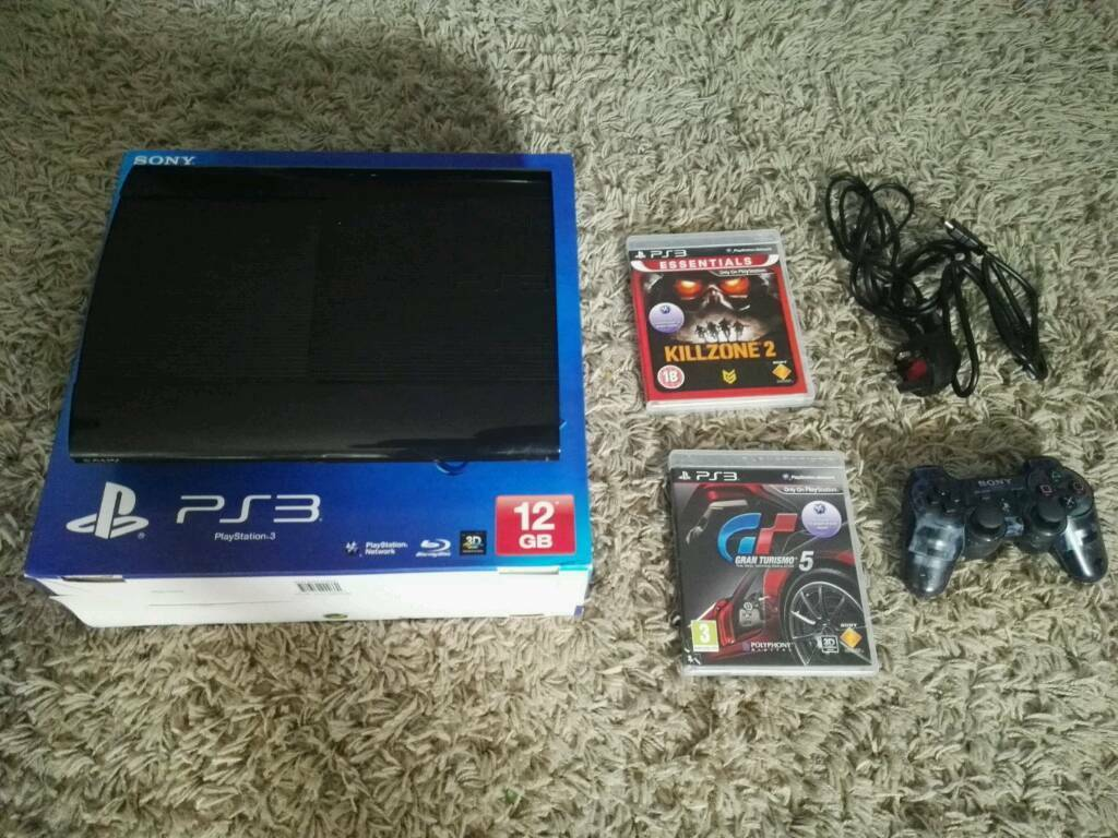 PlayStation 3 Super Slim 12GB complete and with 2 games