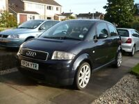 Audi A2 Sport 1.4,reg plate 04, 5 door, petrol, millage 109'035...blue black colour