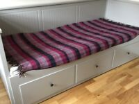 Ikea day bed. Sweedish sizing. Folds out to double bed, 3 drawers underneath for storage. Dove grey.
