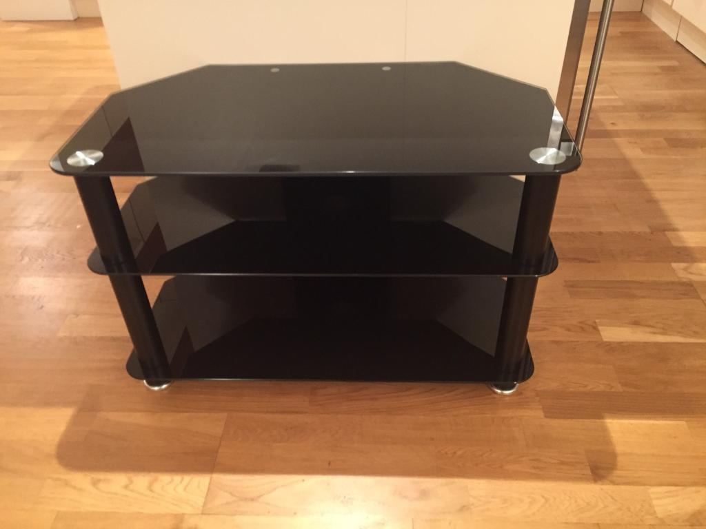 Black Glass Tv Table In Richmond North Yorkshire Gumtree # Table Tv En Coin